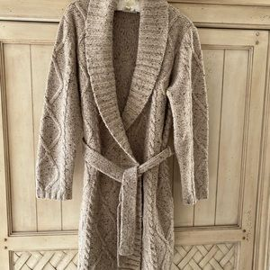 Liz Claiborne cable knit belted sweater coat NWOT